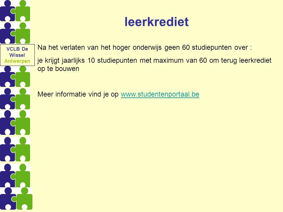 VCLB De Wissel Antwerpen. leerkrediet. Na het verlaten van het hoger onderwijs geen 60 studiepunten over :