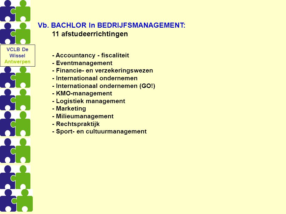 Vb. BACHLOR In BEDRIJFSMANAGEMENT: 11 afstudeerrichtingen