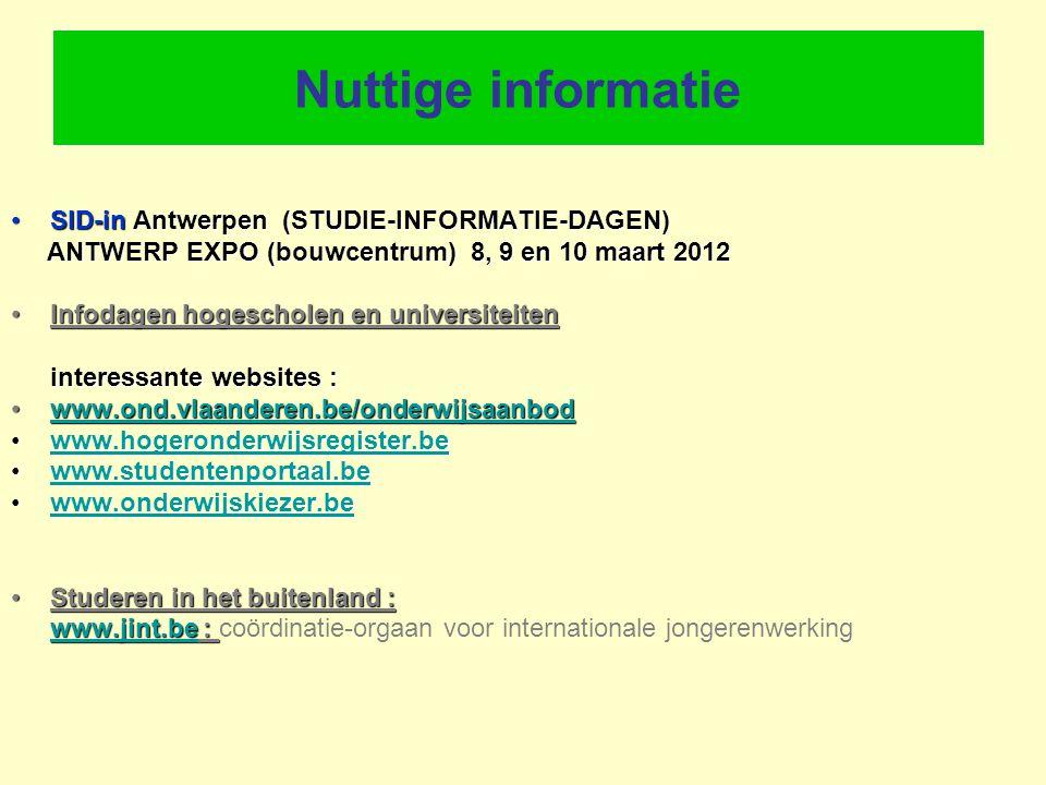 Nuttige informatie SID-in Antwerpen (STUDIE-INFORMATIE-DAGEN)