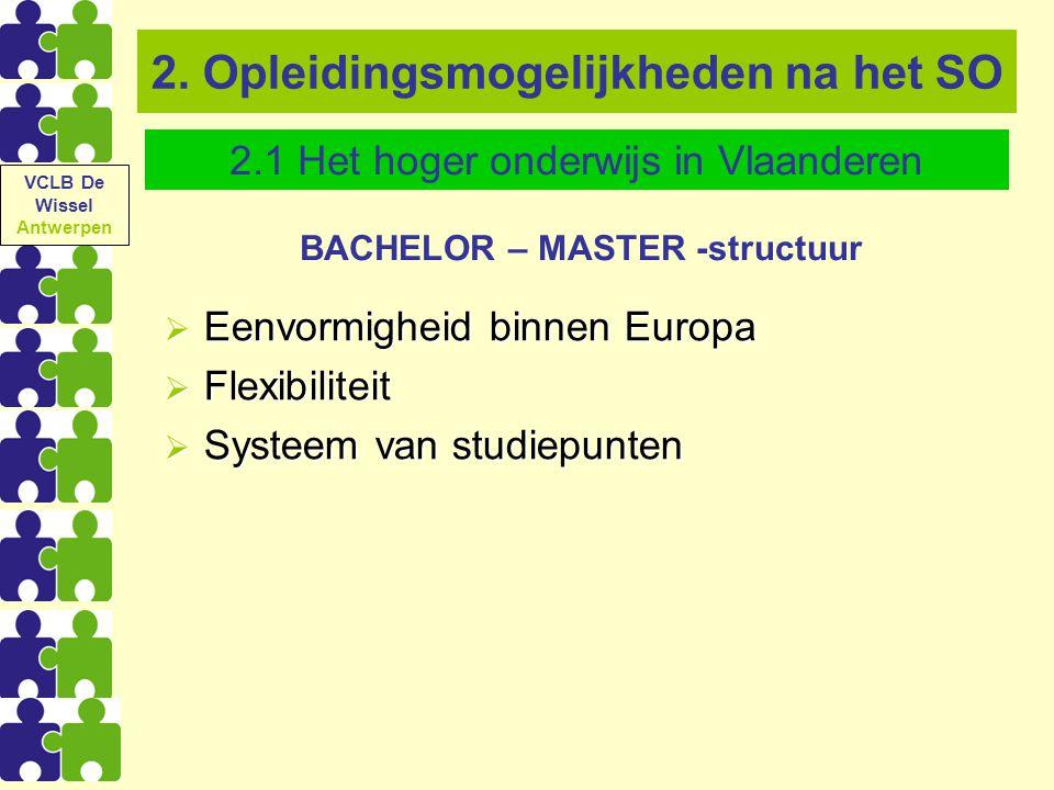 2. Opleidingsmogelijkheden na het SO BACHELOR – MASTER -structuur