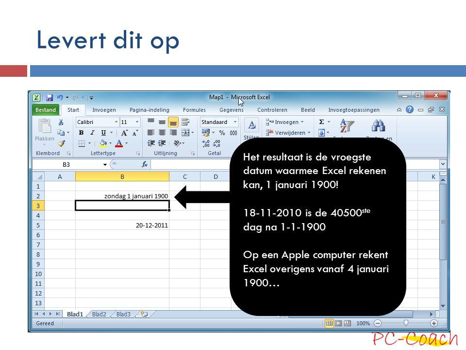 Levert dit op Het resultaat is de vroegste datum waarmee Excel rekenen kan, 1 januari 1900! 18-11-2010 is de 40500ste dag na 1-1-1900.