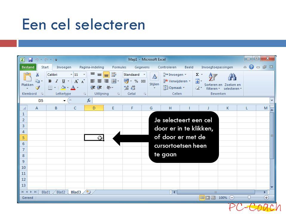 Een cel selecteren Je selecteert een cel door er in te klikken, of door er met de cursortoetsen heen te gaan.