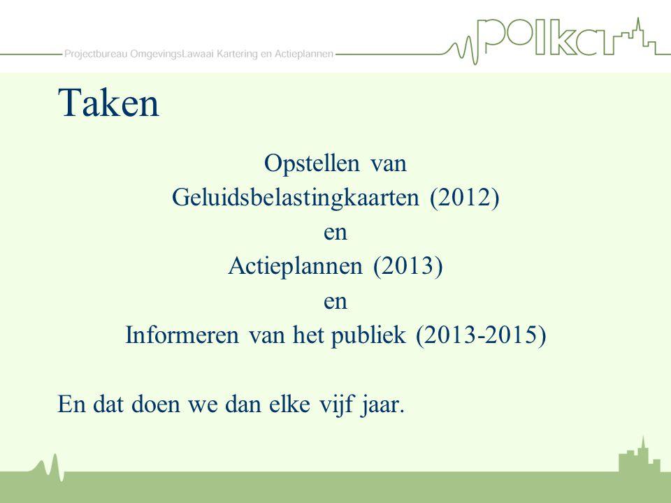Taken Opstellen van Geluidsbelastingkaarten (2012) en
