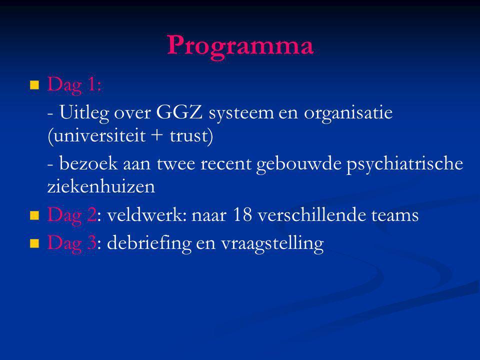 Programma Dag 1: - Uitleg over GGZ systeem en organisatie (universiteit + trust) - bezoek aan twee recent gebouwde psychiatrische ziekenhuizen.