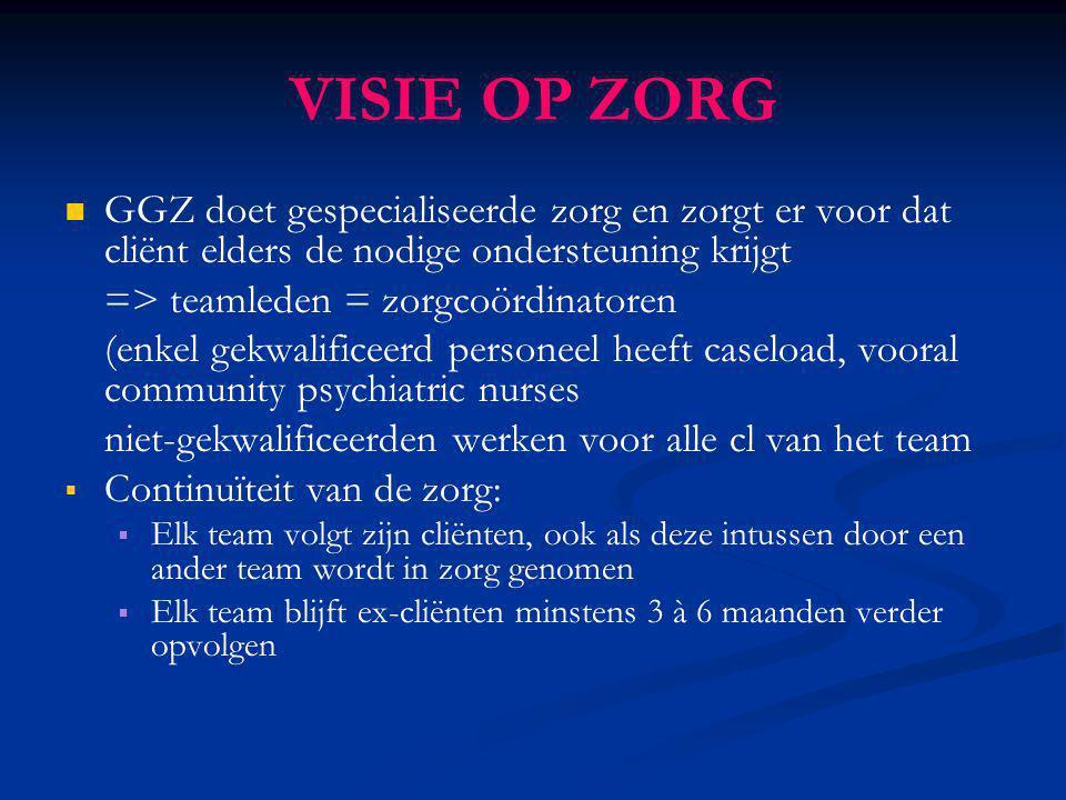 VISIE OP ZORG GGZ doet gespecialiseerde zorg en zorgt er voor dat cliënt elders de nodige ondersteuning krijgt.