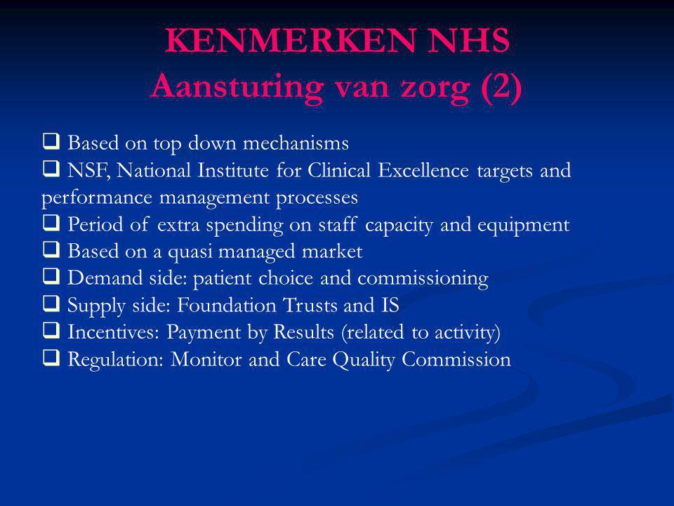KENMERKEN NHS Aansturing van zorg (2)
