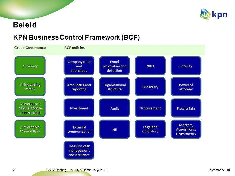 Security & Continuity zijn onderdeel KPN Corporate Governance