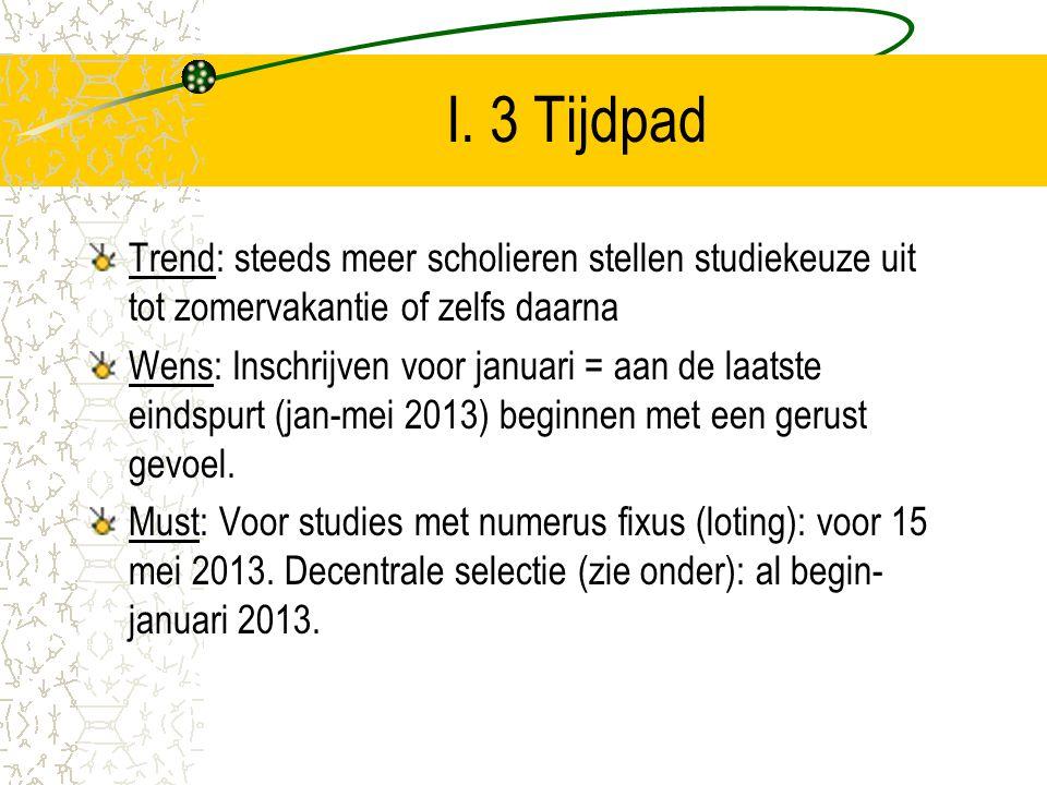 I. 3 Tijdpad Trend: steeds meer scholieren stellen studiekeuze uit tot zomervakantie of zelfs daarna.
