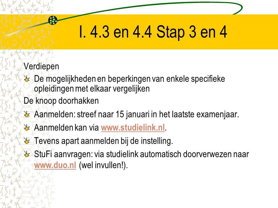 I. 4.3 en 4.4 Stap 3 en 4 Verdiepen. De mogelijkheden en beperkingen van enkele specifieke opleidingen met elkaar vergelijken.