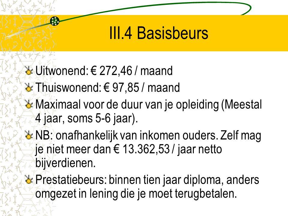 III.4 Basisbeurs Uitwonend: € 272,46 / maand