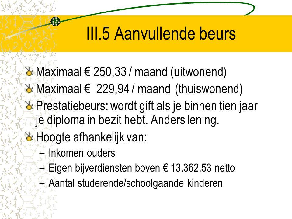 III.5 Aanvullende beurs Maximaal € 250,33 / maand (uitwonend)