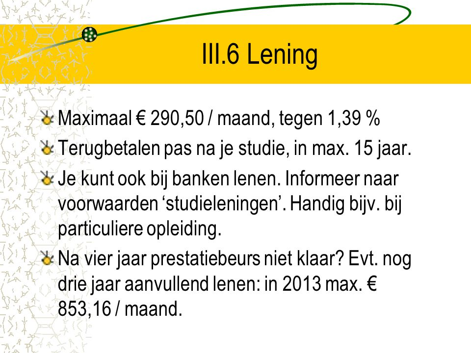 III.6 Lening Maximaal € 290,50 / maand, tegen 1,39 %