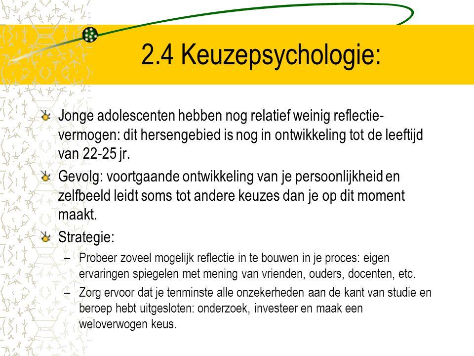 2.4 Keuzepsychologie:
