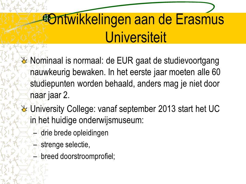 Ontwikkelingen aan de Erasmus Universiteit