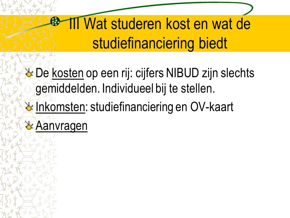 III Wat studeren kost en wat de studiefinanciering biedt