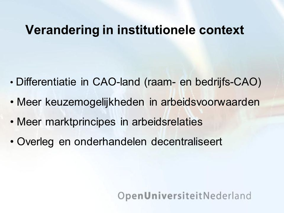 Verandering in institutionele context
