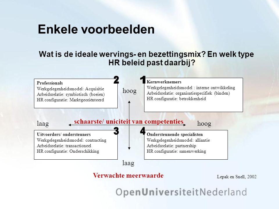 Enkele voorbeelden Wat is de ideale wervings- en bezettingsmix En welk type HR beleid past daarbij