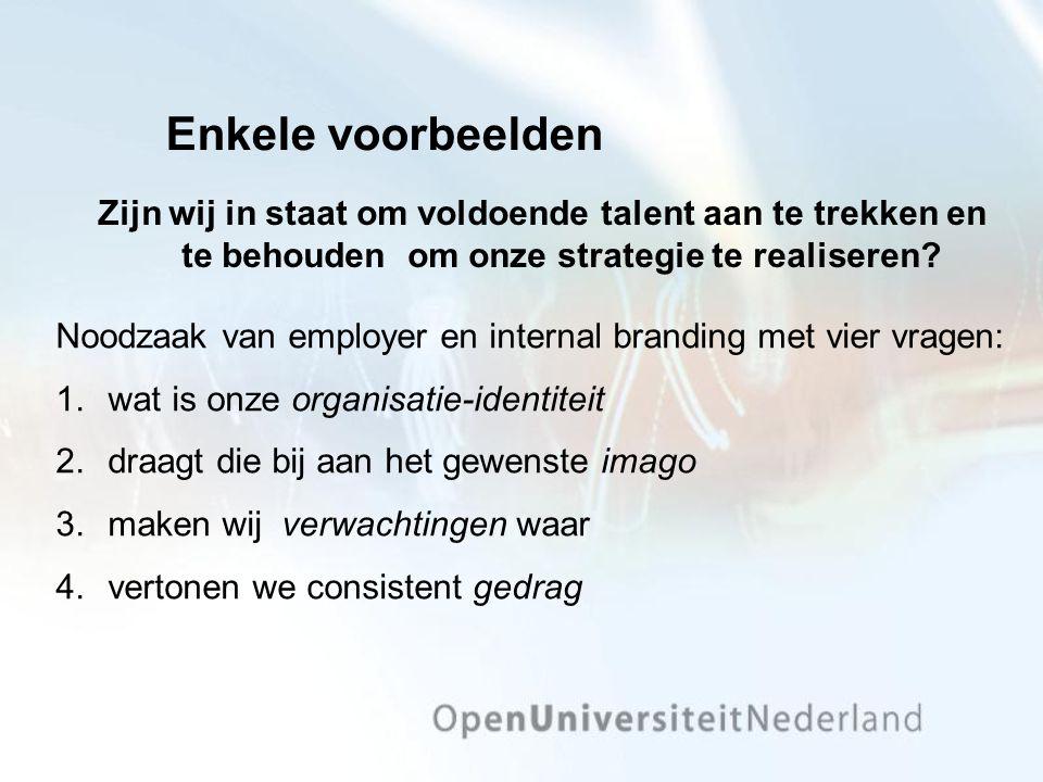 Enkele voorbeelden Zijn wij in staat om voldoende talent aan te trekken en te behouden om onze strategie te realiseren