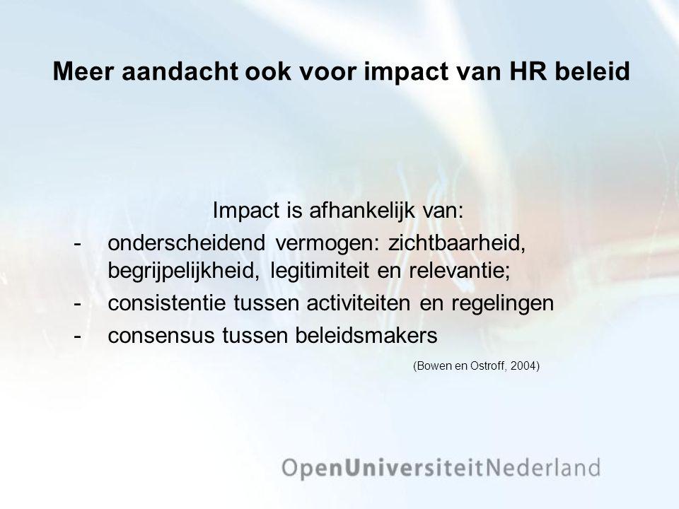 Meer aandacht ook voor impact van HR beleid