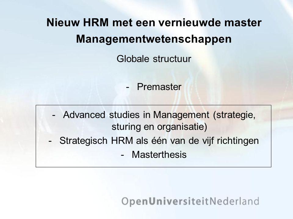 Nieuw HRM met een vernieuwde master Managementwetenschappen