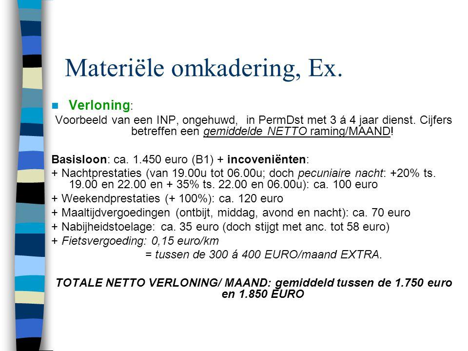 Materiële omkadering, Ex.