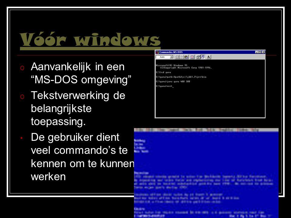 Vóór windows Aanvankelijk in een MS-DOS omgeving