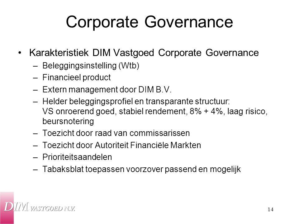 Corporate Governance Karakteristiek DIM Vastgoed Corporate Governance