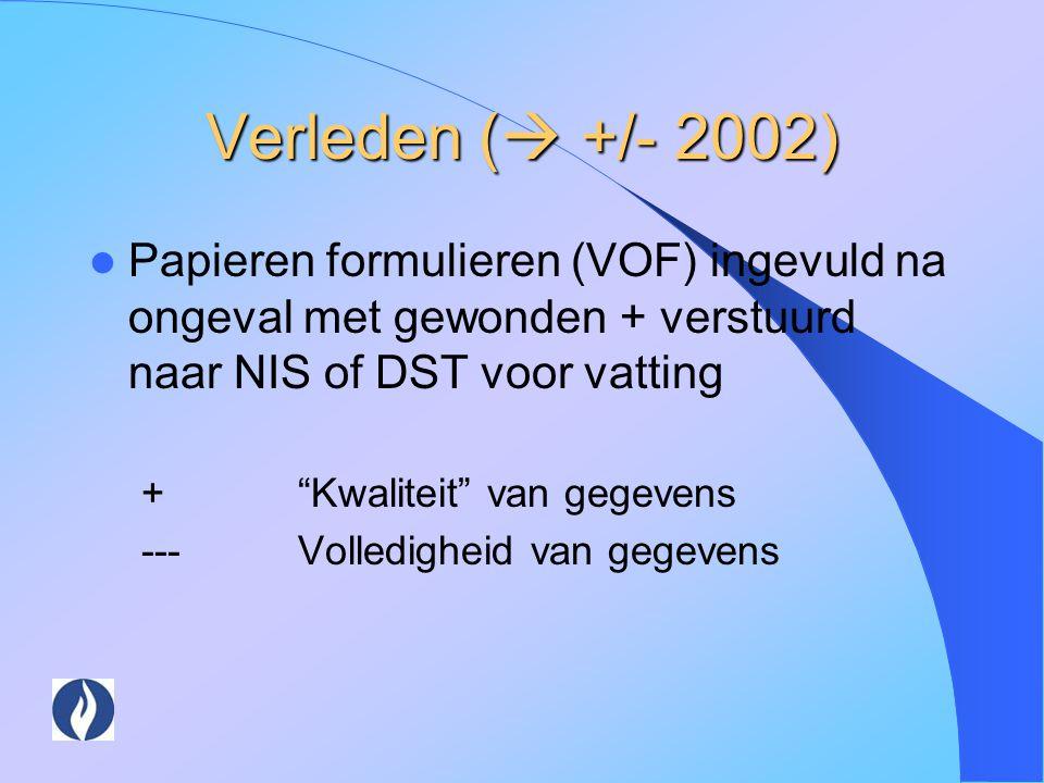 Verleden ( +/- 2002) Papieren formulieren (VOF) ingevuld na ongeval met gewonden + verstuurd naar NIS of DST voor vatting.