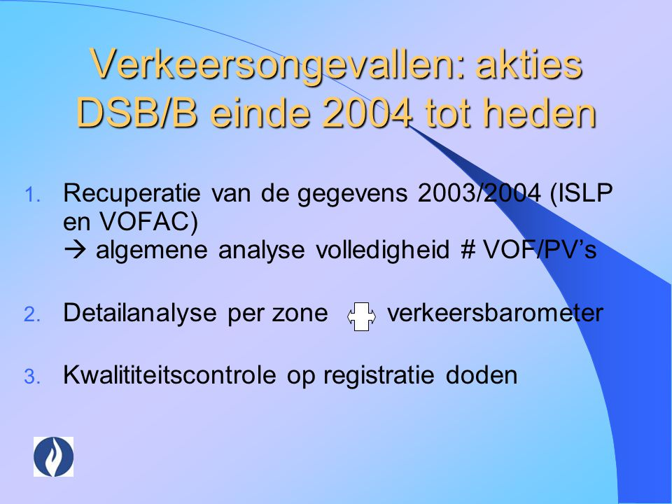 Verkeersongevallen: akties DSB/B einde 2004 tot heden