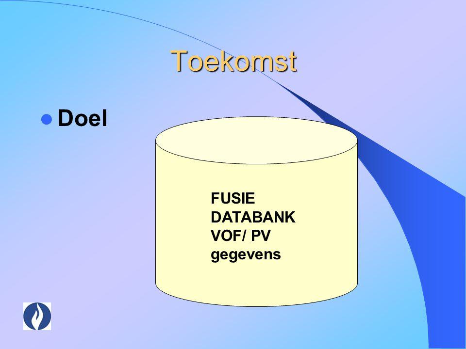 Toekomst Doel FUSIE DATABANKVOF/ PV gegevens