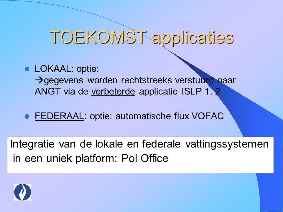 TOEKOMST applicaties LOKAAL: optie: gegevens worden rechtstreeks verstuurd naar ANGT via de verbeterde applicatie ISLP 1. 2.