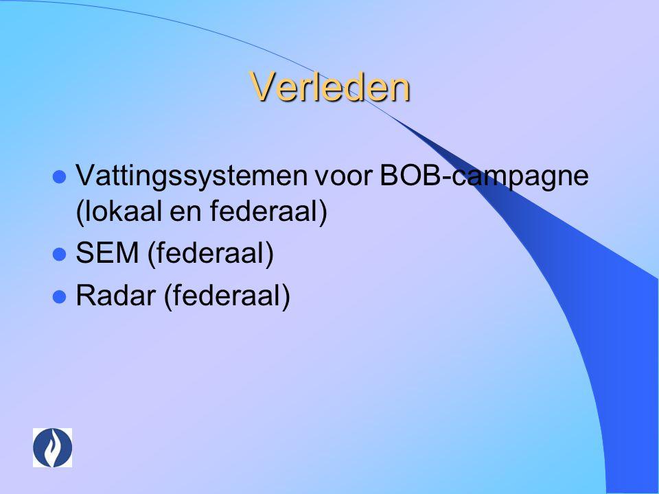 Verleden Vattingssystemen voor BOB-campagne (lokaal en federaal)