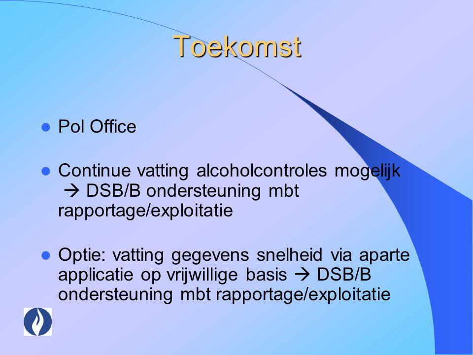 Toekomst Pol Office. Continue vatting alcoholcontroles mogelijk  DSB/B ondersteuning mbt rapportage/exploitatie.