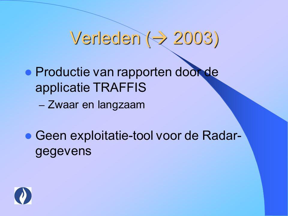 Verleden ( 2003) Productie van rapporten door de applicatie TRAFFIS
