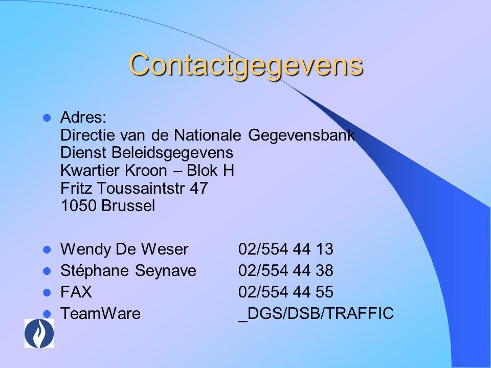 Contactgegevens Adres: Directie van de Nationale Gegevensbank Dienst Beleidsgegevens Kwartier Kroon – Blok H Fritz Toussaintstr 47 1050 Brussel.