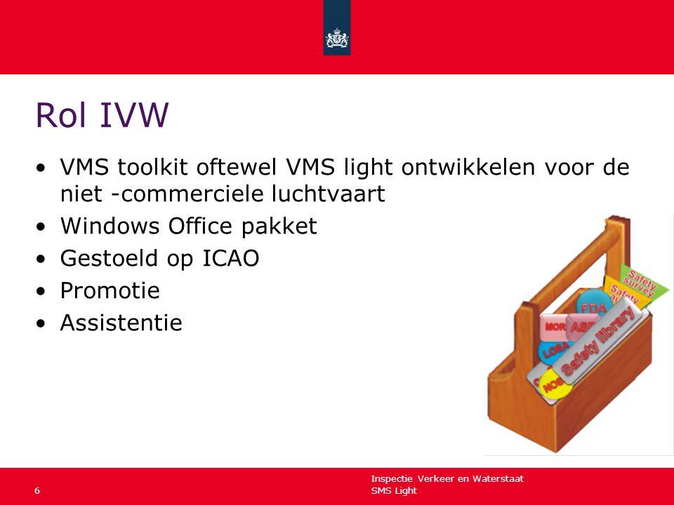 Rol IVW VMS toolkit oftewel VMS light ontwikkelen voor de niet -commerciele luchtvaart. Windows Office pakket.