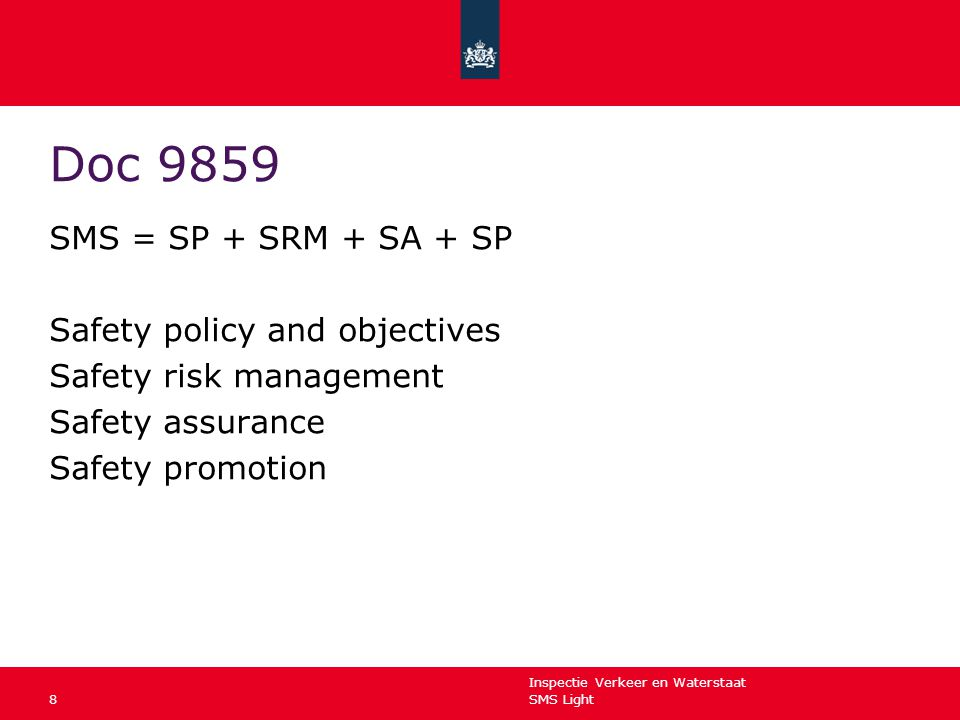 Doc 9859 SMS = SP + SRM + SA + SP Safety policy and objectives