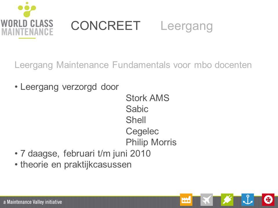 CONCREET Leergang Leergang Maintenance Fundamentals voor mbo docenten