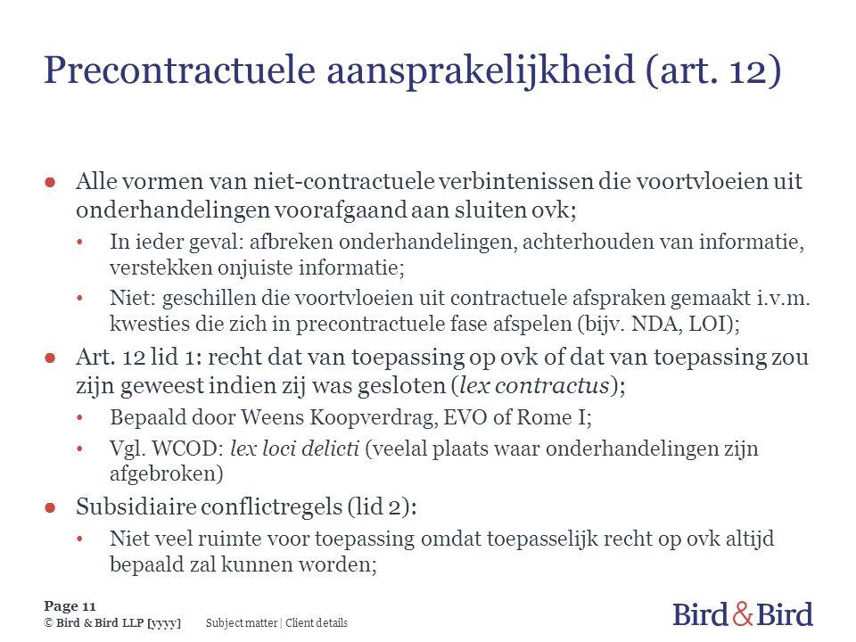 Precontractuele aansprakelijkheid (art. 12)