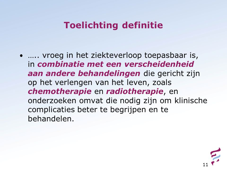 Toelichting definitie
