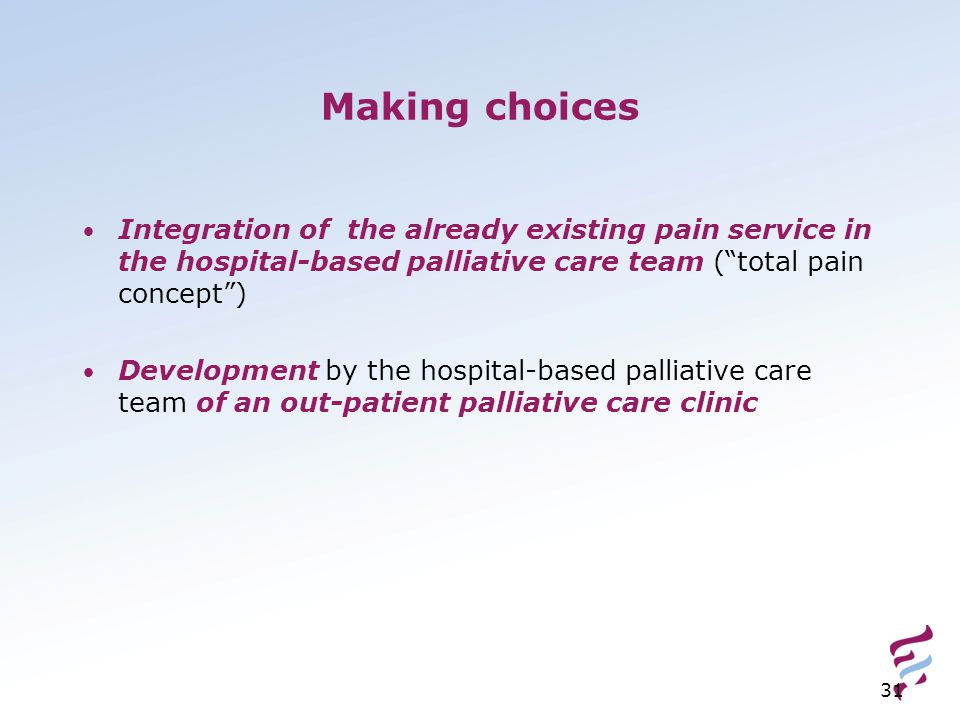 Making choices Integration of the already existing pain service in the hospital-based palliative care team ( total pain concept )