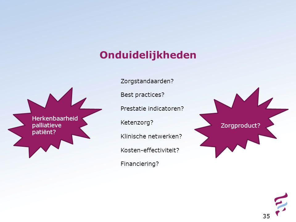 Onduidelijkheden Zorgstandaarden Best practices