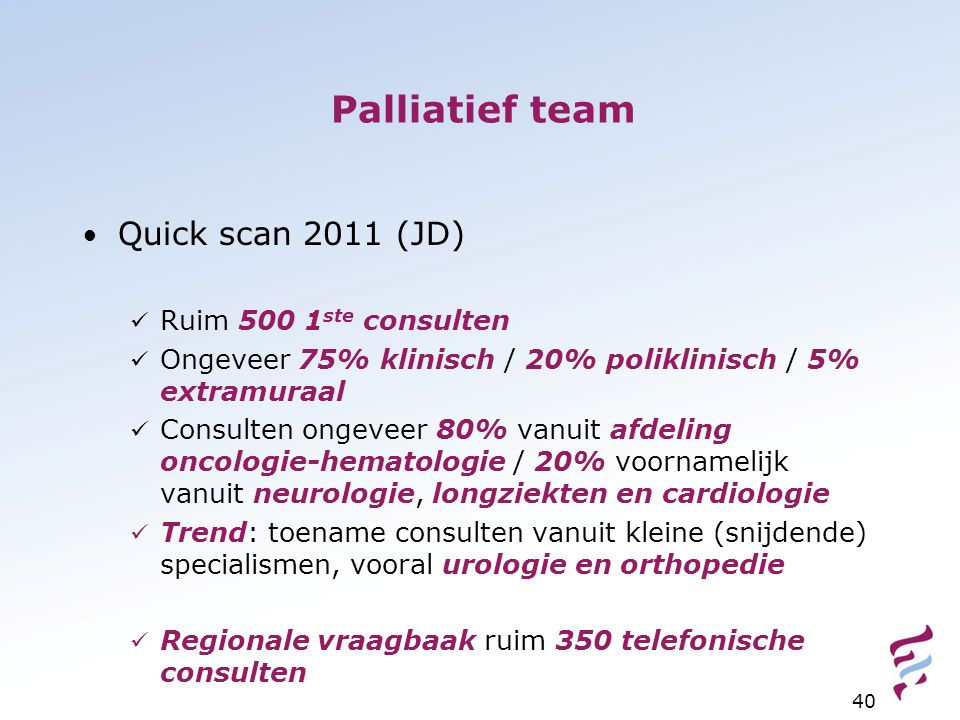 Palliatief team Quick scan 2011 (JD) Ruim 500 1ste consulten