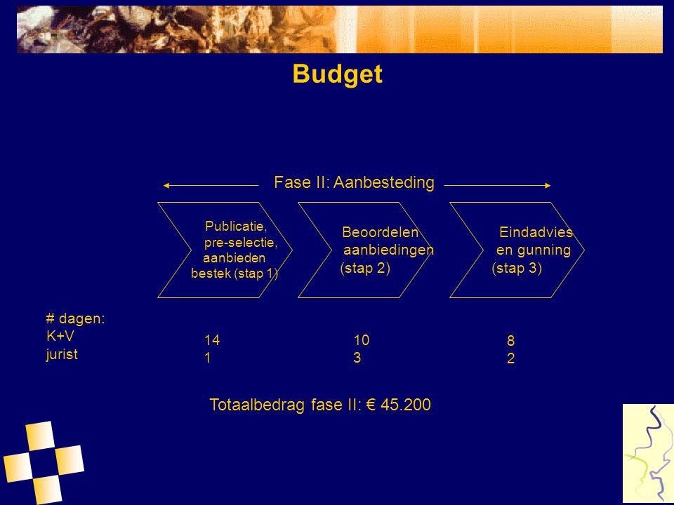 Budget Fase II: Aanbesteding Totaalbedrag fase II: € 45.200