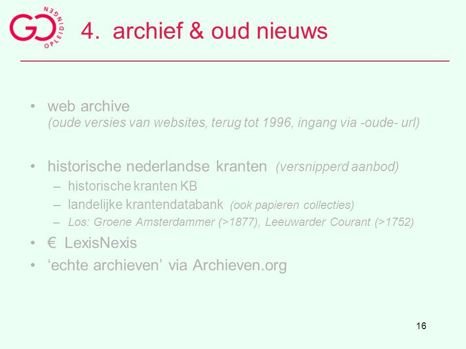 4. archief & oud nieuws web archive