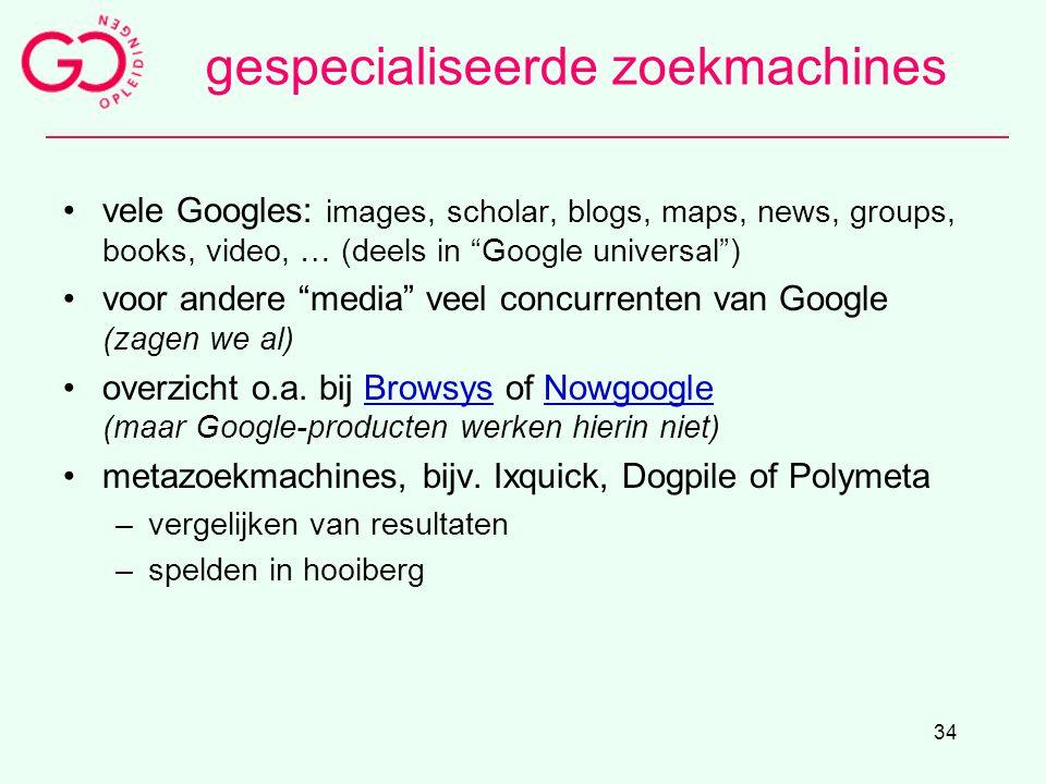 gespecialiseerde zoekmachines