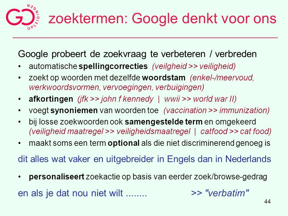 zoektermen: Google denkt voor ons