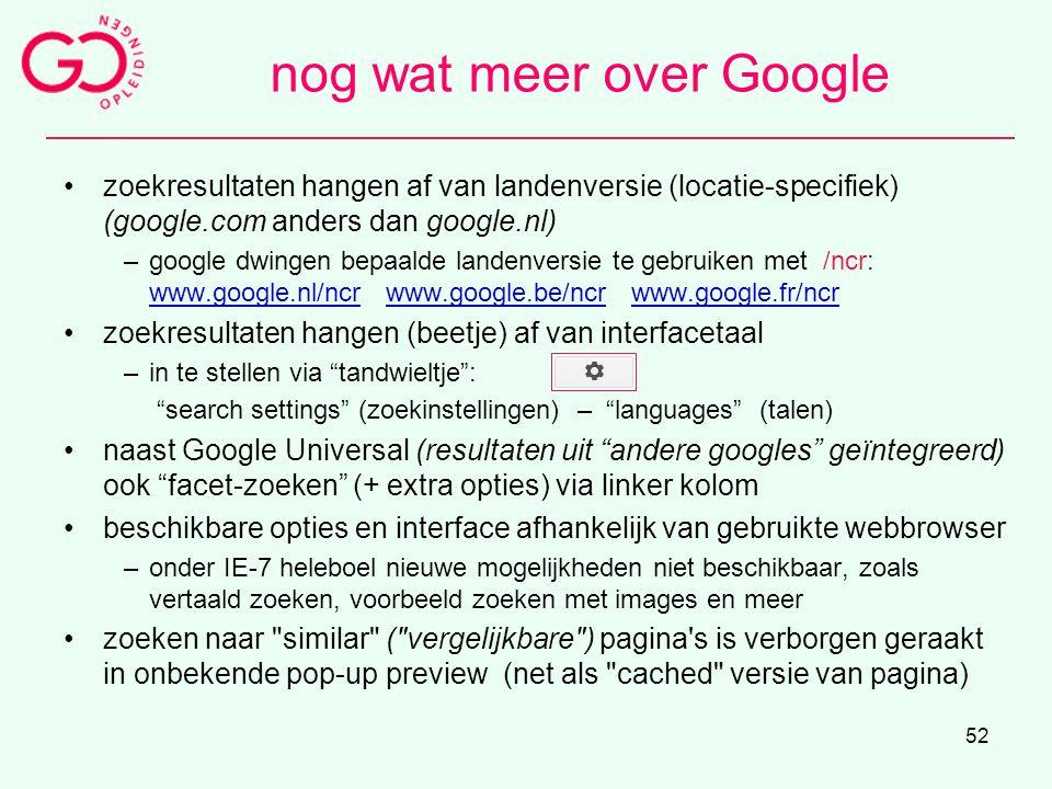 nog wat meer over Google