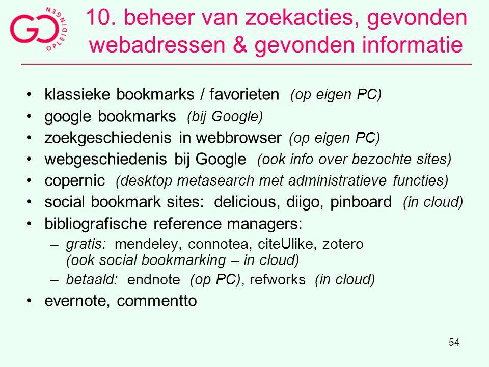 10. beheer van zoekacties, gevonden webadressen & gevonden informatie