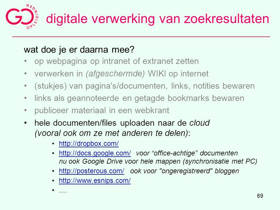digitale verwerking van zoekresultaten